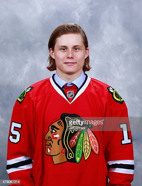 John Dahlstrom poses for a portrait after being selected 211th overall by the Chicago Blackhawks during the 2015 NHL Draft at BBT Center on June 27...