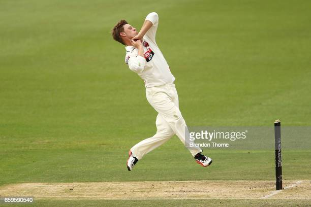 John Dalton of the Redbacks bowls during the Sheffield Shield final between Victoria and South Australia on March 29 2017 in Alice Springs Australia