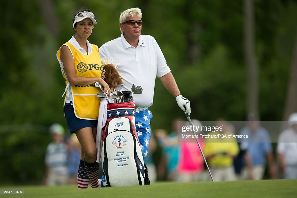 Jon Daly and his caddie waits on the 16th hole during the second round for the 77th Senior PGA Championship presented by KitchenAid held at Harbor Shores Golf Club on May 27, 2016 in Benton Harbor, Michigan.
