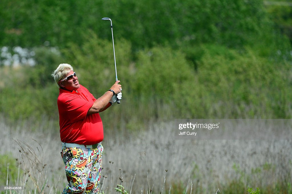 John Daly chips out of the rough on the 16th hole during the first round 2016 Senior PGA Championship presented by KitchenAid at the Golf Club at Harbor Shores on May 26, 2016 in Benton Harbor, Michigan.