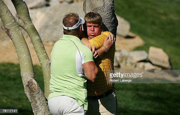 John Daly gets treated by chronic pain specialist Jim Weathers during the third round of the 49th Bob Hope Chrysler Classic on January 18 2008 at the...