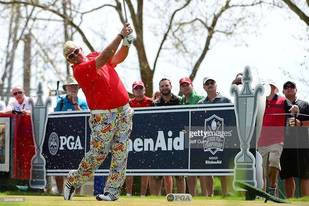 John Daly hits a tee shot on the 17th hole during the first round 2016 Senior PGA Championship presented by KitchenAid at the Golf Club at Harbor Shores on May 26, 2016 in Benton Harbor, Michigan.