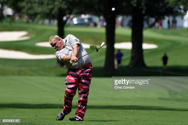 John Daly Hits from the 6th fairway during the final round of the PGA TOUR Champions DICK'S Sporting Goods Open at EnJoie Golf Course on August 20...