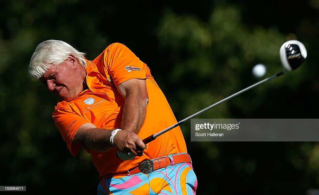 John Daly hits his tee shot on the 16th hole during the third round of the Justin Timberlake Shriners Hospitals for Children Open at TPC Summerlin on October 6, 2012 in Las Vegas, Nevada.