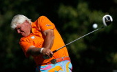 John Daly hits his tee shot on the 16th hole during the third round of the Justin Timberlake Shriners Hospitals for Children Open at TPC Summerlin on...
