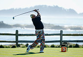 John Daly hits his tee shot on the 18th hole during the first round of the ATT Pebble Beach National ProAm at the Pebble Beach Golf Links on February...