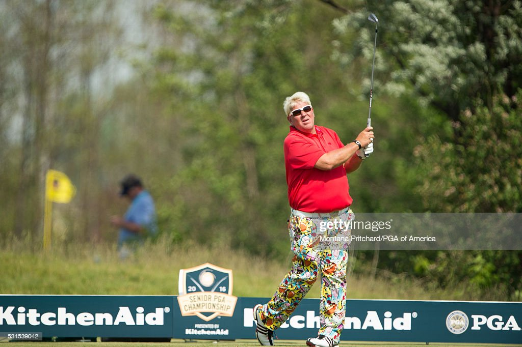 Jon Daly hits his tee shot on the fourth hole during the first round for the 77th Senior PGA Championship presented by KitchenAid held at Harbor Shores Golf Club on May 26, 2016 in Benton Harbor, Michigan.