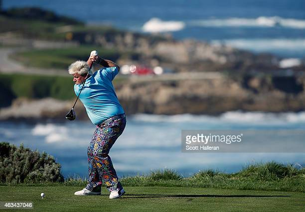 John Daly hits his tee shot on the fourth hole during the third round of the ATT Pebble Beach National ProAm at the Spyglass Hill Golf Course on...
