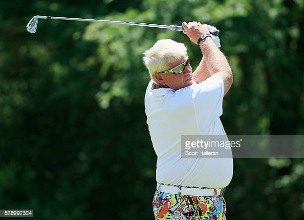 John Daly hits his tee shot on the seventh hole during the second round of the Insperity Invitational at The Woodlands Country Club on May 7 2016 in...