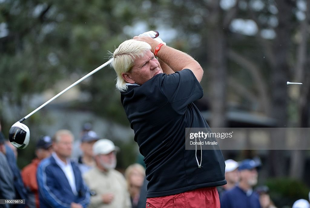 John Daly hits off the tee box during the first round at the Farmers Insurance Open at Torrey Pines Golf Course on January 25, 2013 in La Jolla, California.