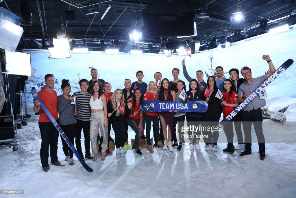 John Daly, Mirai Nagasu, Nathan Chen, Ashley Wagner, Mike Schultz, Jason Brown, Gracie Gold, Adam Rippon, Brittany Bowe, Vincent Zhou, Alexa Scimeca Knierim, Chris Knierim, Madison Chocks, Evan Bates, Mariah Bell, Maia Shiutani, Tucker West, Annie O'Shea, Matt Antoine, Karen Chen, Alex Shiutani, and Simi Hamilton attend Team USA PyeongChang 2018 Winter Olympics Portraits at Quixote Studios West Hollywood on April 28, 2017 in West Hollywood, California.
