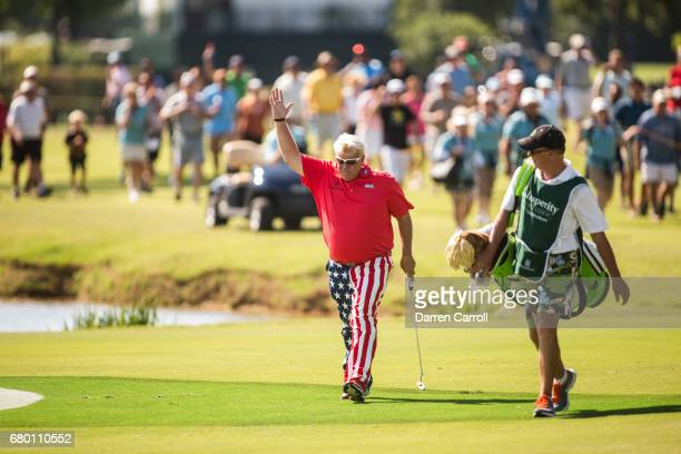 John Daly of the United States acknowledges the gallery at the eighteenth hole during the third round of the PGA TOUR Champions Insperity...