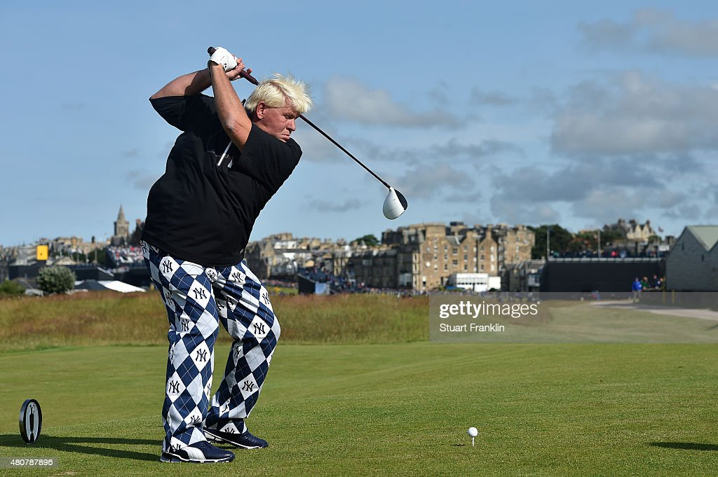 <a gi-track='captionPersonalityLinkClicked' href=/galleries/search?phrase=John+Daly+-+Golfer&family=editorial&specificpeople=4350901 ng-click='$event.stopPropagation()'>John Daly</a> of the United States drives during the Champion Golfers' Challenge ahead of the 144th Open Championship at The Old Course on July 15, 2015 in St Andrews, Scotland.