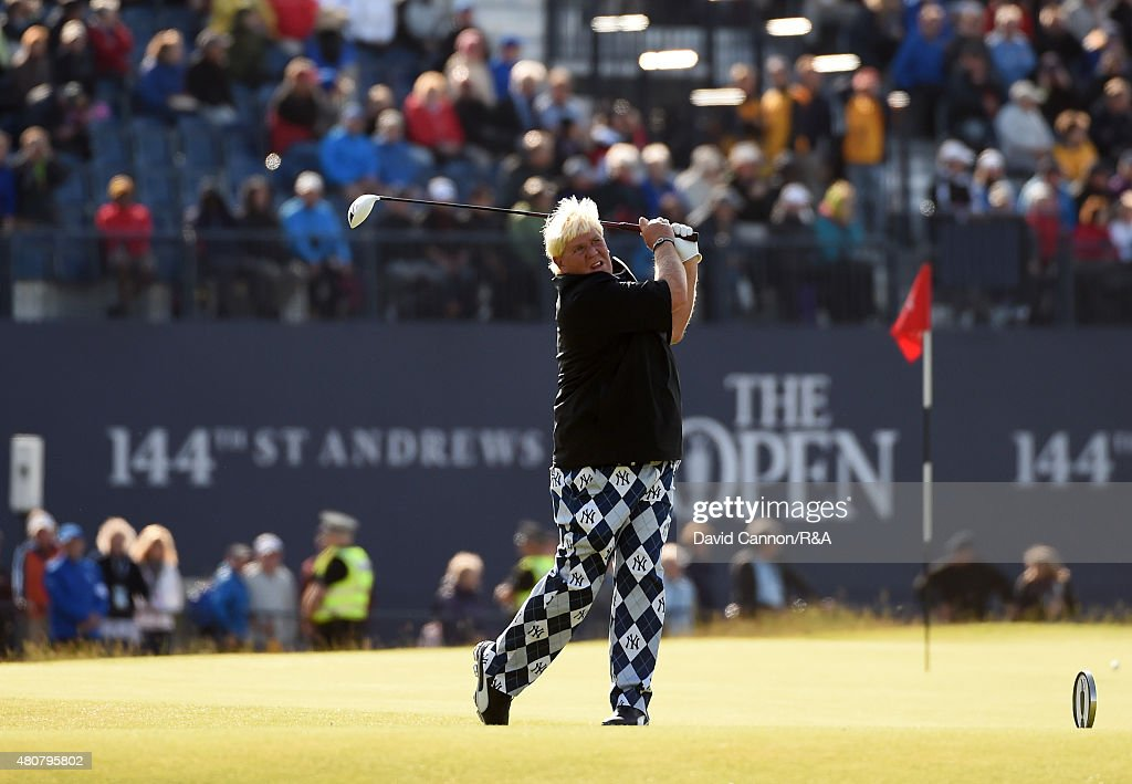 <a gi-track='captionPersonalityLinkClicked' href=/galleries/search?phrase=John+Daly+-+Golfer&family=editorial&specificpeople=4350901 ng-click='$event.stopPropagation()'>John Daly</a> of the United States hits his tee shot on the 18th hole during the Champion Golfers' Challenge ahead of the 144th Open Championship at The Old Course on July 15, 2015 in St Andrews, Scotland.