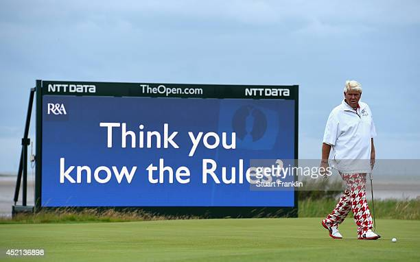 John Daly of the United States looks on during a practice round prior to the start of the 143rd Open Championship at Royal Liverpool on July 14 2014...