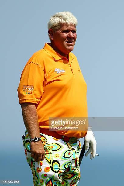 John Daly of the United States looks on from the third tee during the second round of the 2015 PGA Championship at Whistling Straits on August 14...
