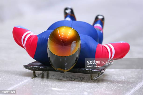 John Daly of the United States makes a practice skeleton run ahead of the Sochi 2014 Winter Olympics at the Sanki Sliding Center on February 5 2014...