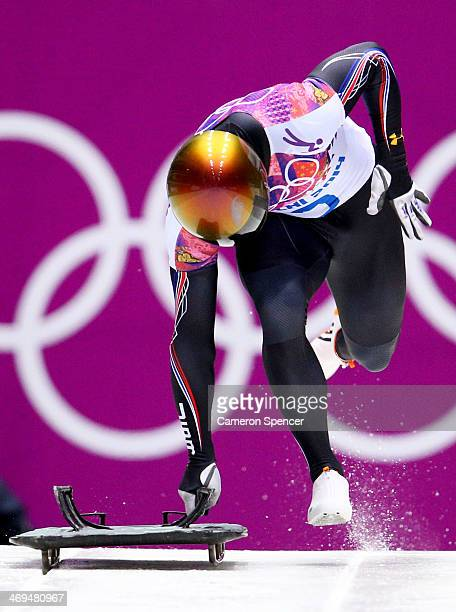 John Daly of the United States makes a run during the Men's Skeleton on Day 8 of the Sochi 2014 Winter Olympics at Sliding Center Sanki on February...
