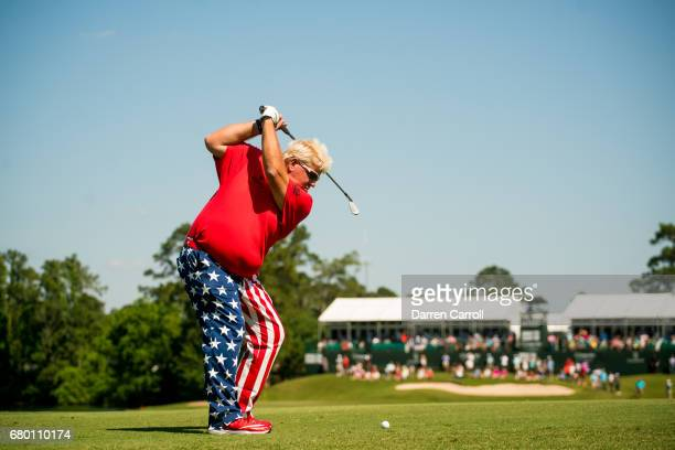 John Daly of the United States plays his second shot at the 17th hole during the third round of the PGA TOUR Champions Insperity Invitational at The...