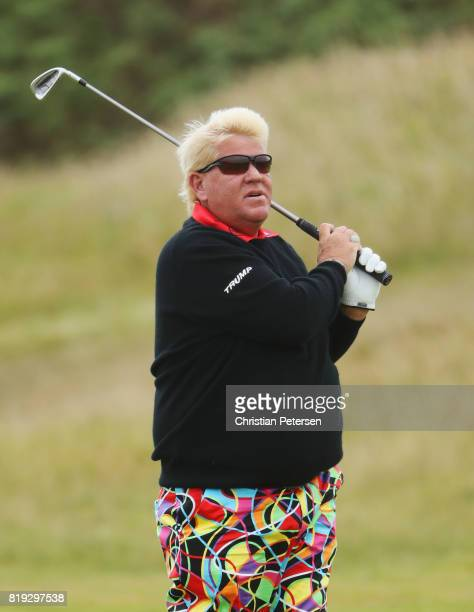 John Daly of the United States plays his second shot on the 2nd hole during the first round of the 146th Open Championship at Royal Birkdale on July...