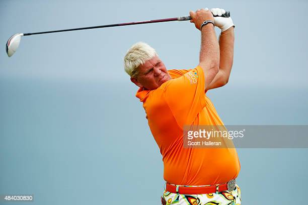 John Daly of the United States plays his shot from the 16th tee during the second round of the 2015 PGA Championship at Whistling Straits on August...
