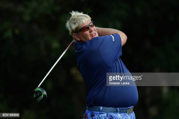 John Daly of the United States plays his shot from the fifth tee during the first round of the 2017 PGA Championship at Quail Hollow Club on August...