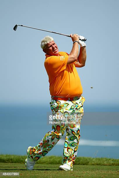 John Daly of the United States plays his shot from the third tee during the second round of the 2015 PGA Championship at Whistling Straits on August...