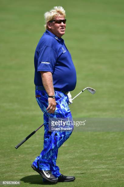 John Daly of the United States prepares to play his shot on the 16th hole during the first round of the 2017 PGA Championship at Quail Hollow Club on...