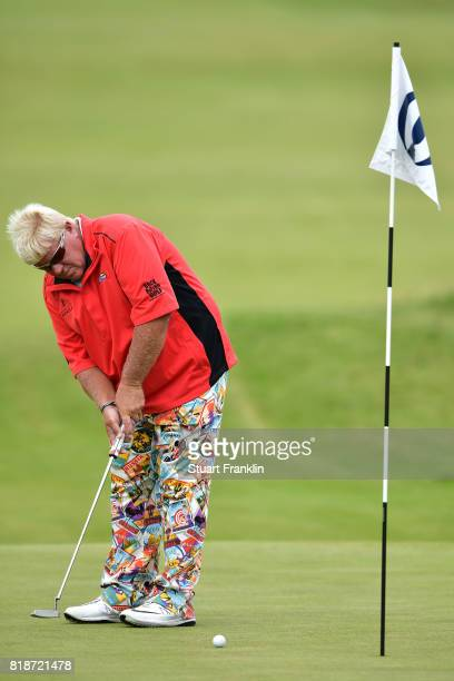 John Daly of the United States putting during a practice round prior to the 146th Open Championship at Royal Birkdale on July 19 2017 in Southport...