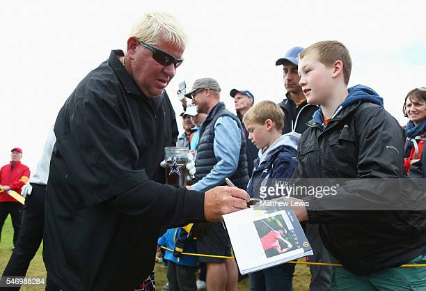 John Daly of the United States signs autographs during previews ahead of the 145th Open Championship at Royal Troon on July 13 2016 in Troon Scotland