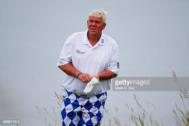 John Daly of the United States stands on the 13th tee during the first round of the 2015 PGA Championship at Whistling Straits on August 13 2015 in...