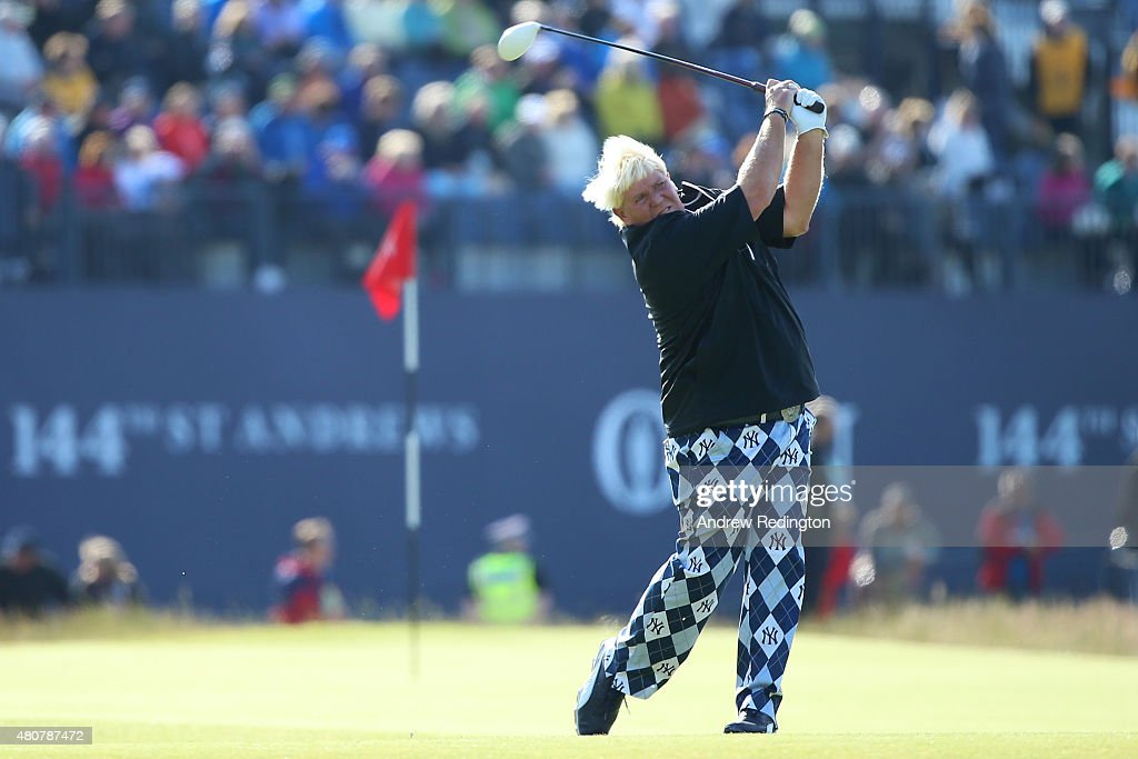 <a gi-track='captionPersonalityLinkClicked' href=/galleries/search?phrase=John+Daly+-+Golfer&family=editorial&specificpeople=4350901 ng-click='$event.stopPropagation()'>John Daly</a> of the United States tees off on the 18th during the Champion Golfers' Challenge ahead of the 144th Open Championship at The Old Course on July 15, 2015 in St Andrews, Scotland.