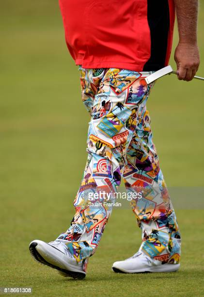John Daly of the United States wears his trademark colourful trousers during a practice round prior to the 146th Open Championship at Royal Birkdale...