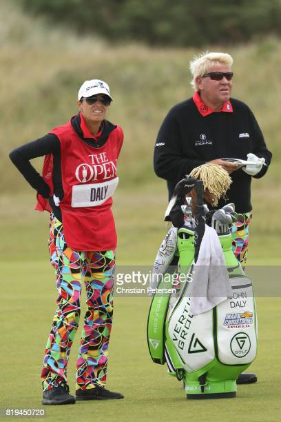 John Daly of the United States with his caddie during the first round of the 146th Open Championship at Royal Birkdale on July 20 2017 in Southport...