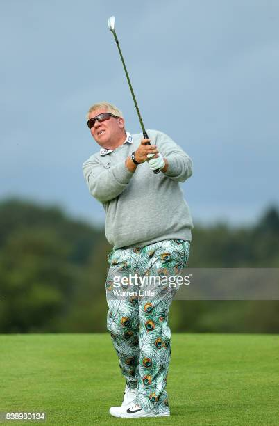 John Daly of The USA hits his second shot on the 1st hole during day two of Made in Denmark at Himmerland Golf Spa Resort on August 25 2017 in...
