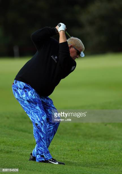 John Daly of The USA hits his second shot on the first hole during day one of Made in Denmark at Himmerland Golf Spa Resort on August 24 2017 in...
