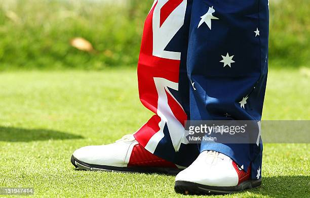 John Daly of the USA wearsAustralian pants in the proam ahead of the 2011 Emirates Australian open at The Lakes Golf Club on November 9 2011 in...