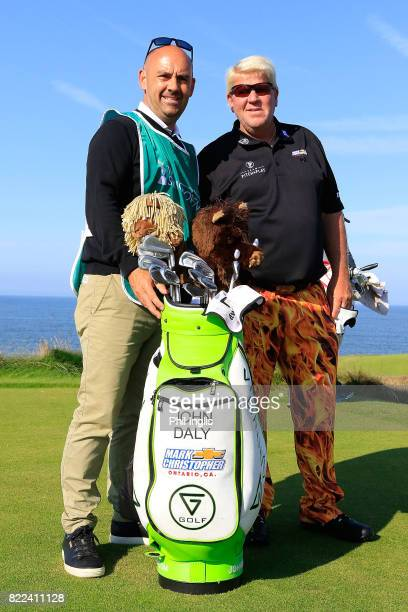 John Daly of United States and his caddie Simon Hurd during the ProAm ahead of The Senior Tour Open Championship played at Royal Porthcawl Golf Club...