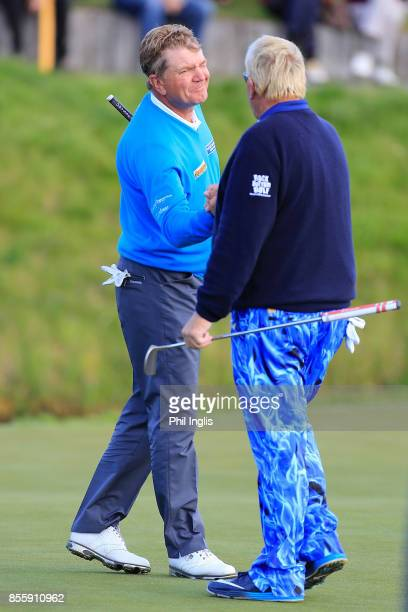 John Daly of United States and Paul Broadhurst of England during the final round of the Paris Legends Championship played at Le Golf National on...
