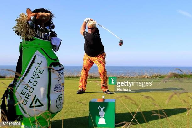 John Daly of United States in action during the ProAm ahead of The Senior Tour Open Championship played at Royal Porthcawl Golf Club on July 25 2017...