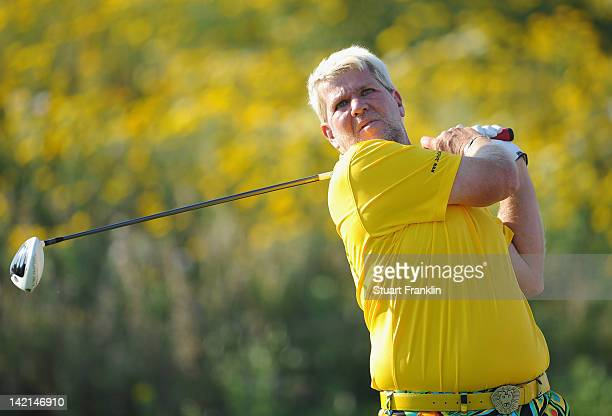 John Daly of USA plays a shot during the second round of the Sicilian Open at Verdura Golf and Spa Resort on March 30 2012 in Sciacca Italy