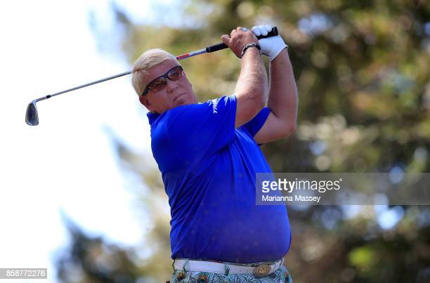 John Daly plays his shot from the 11th tee during the third round of the Safeway Open at the North Course of the Silverado Resort and Spa on October...