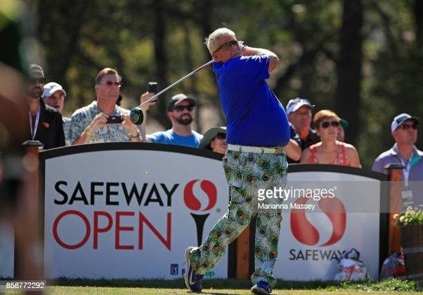John Daly plays his shot from the 14th tee during the third round of the Safeway Open at the North Course of the Silverado Resort and Spa on October...