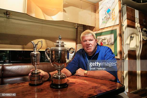 John Daly poses on Washington Road before the third round of the 2016 Masters Tournament at the Augusta National Golf Club on April 9 2016 in Augusta...