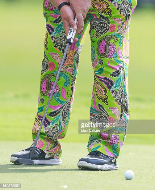 John Daly putts on the second hole during the first round of the SAS Championship at Prestonwood Country Club on October 13 2017 in Cary North...