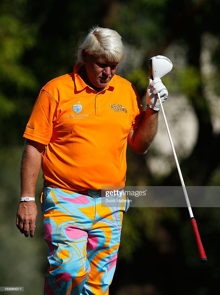 John Daly reacts to a poor shot on the 16th hole during the third round of the Justin Timberlake Shriners Hospitals for Children Open at TPC Summerlin on October 6, 2012 in Las Vegas, Nevada.