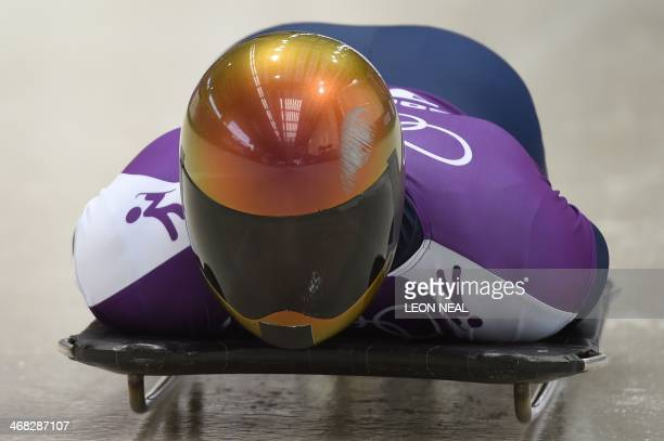 US John Daly takes part in a men Skeleton official training at the Sanki Sliding Center in Rosa Khutor during the Sochi Winter Olympics on February...