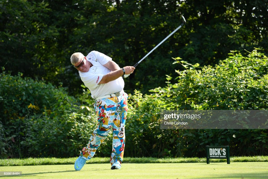 John Daly tees off on the 15th hole during the second round of the PGA TOUR Champions DICK'S Sporting Goods Open at En-Joie Golf Course on August 19, 2017 in Endicott, New York.