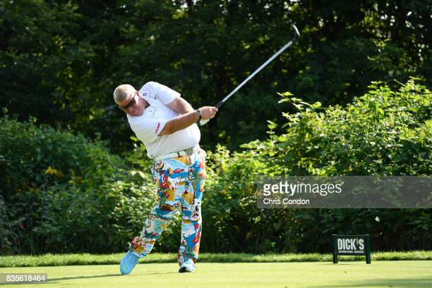 John Daly tees off on the 15th hole during the second round of the PGA TOUR Champions DICK'S Sporting Goods Open at EnJoie Golf Course on August 19...