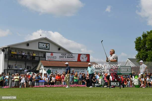 John Daly tees off on the first hole during the final round of the PGA TOUR Champions DICK'S Sporting Goods Open at EnJoie Golf Course on August 20...